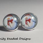 Christmas Snowman Stud Earrings