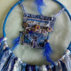 Dream Catcher Denim Sea Glass Blue Shabby Chic Ribbon Beads Pendant Gift