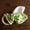 Natural Wooden Teething Ring - Green Chevron Design