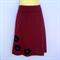 Ladies Retro Maroon A Line Skirt - size 8-18 - flower / daisy applique