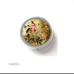 Floral Round trinket box, silver trinket case