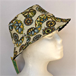 Blue Retro Flower Reversible Bucket Hat - girls size 6 to 12 months old