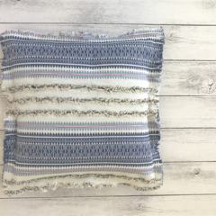 Boho inspired cushion cover - Blues and cream mexican weave