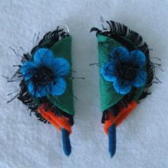 Beautiful Felt Earrings Sterling Silver 925 Blue Orange Green