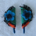Beautiful Felt Earrings Sterling Silver 925 Blue Orange Green
