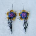 Beautiful Felt Earrings Sterling Silver 925 Flower