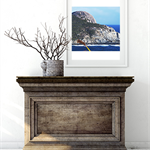 Ocean waves surrounding large rock, wall art, photography, print.