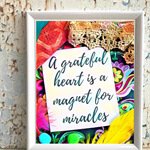 "Affirmation Print ""A Grateful Heart"" - Art Print, Girls Room, Nursery Art,"