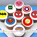 "Superhero Logo Edible Icing Cupcake Toppers- 2"" - PRE-CUT - Sheet of 15 - EI077C"