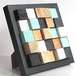 Wooden Block Art ... in black frame desk art