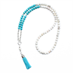 Turquoise and white tassel necklace