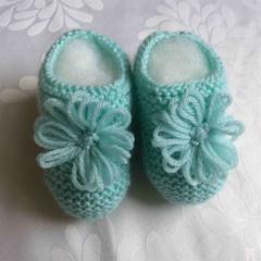 Mint Green Garter Stitch Bootees for Newborn