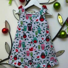 CHRISTMAS SALE Size 1 - Penquins and Owls Christmas Dress