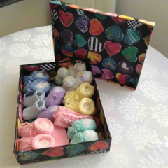 Heart Box of Baby Booties, Socks and one Headband