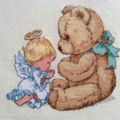Cross Stitched Bear and Angel Picture