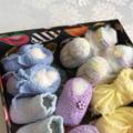 Heart Box of Baby Booties, Socks and one Headband