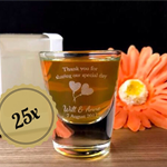 25x Personalised Engraved Shot Glasses 30ml Wedding Favors - Wedding Design