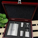 Personalised Engraved Stainless Steel Hip Flask Set in Wooden box -Best Man Gift