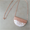 White copper foil Geometry polymer clay pendant - cresent