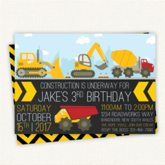 Construction Birthday Invitation, Boy, Girl, Digger Invite, Truck Party, Digital