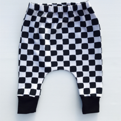 Monochrome check slim harem pants, baby boy girl toddlers