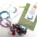 Make it yourself necklace gift kit-handcrafted polymer clay beads- multicoloured