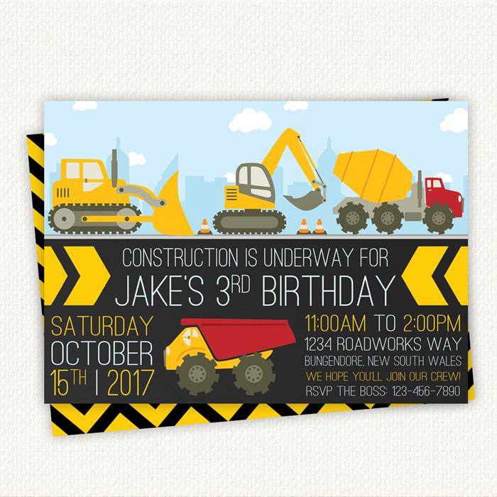 Construction Birthday Invitation Boy Girl Digger Invite Truck Party Digital