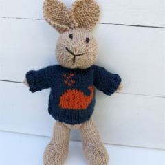 Amos the  Hand Knitted Bunny Rabbit Toy with Navy/Orange Whale Jumper