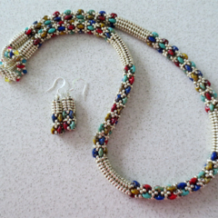 Colours of Egypt - Beaded Necklace and Earrings Set