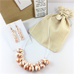 Handcrafted copper leaf polymer clay necklace and earrings set