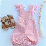Pink Cotton Linen Romper Playsuit - size 2