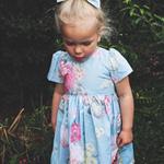 Erica Blue Floral Girl Tea Party Dress, Girl