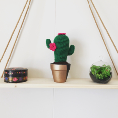 Crochet cactus with hot pink flowers in rose gold and black pot