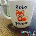 "Funny Coffee mug decal -""Zero fox given"""
