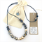 Handcrafted gold leaf, blue and white polymer clay adjustable necklace