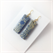 Handcrafted gold leaf blue polymer clay earrings gold plated earring  hooks