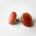 Bohemian Carnelian Gemstone Crystal Stud Earrings