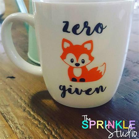 "Funny Coffee mug decal -""Zero fox given"""