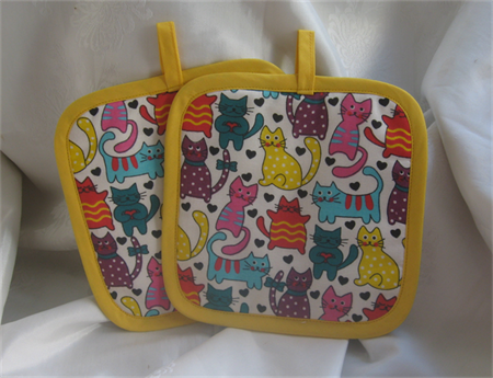 Cat Pot Holder Yelllow Trim