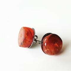 Carnelian Gemstone Crystal Stud Earrings