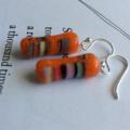 Japanese Vintage Glass & Sterling Silver Dangle Earrings - Orange and Rainbow