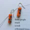 Japanese Vintage Glass & Sterling Silver Dangle Earrings - Orange and Rainbow