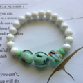 Lampwork Glass & Clam Shell Beaded Stretch Bracelet - Sea Green and Pearly White