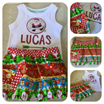 SUPACOOL MAVERICK BLOOMIE/SINGLET SET 'Santa' Shorts, Christmas