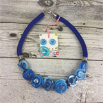 Blue - Twist - Button Fusion Necklace - Button Jewellery - Earrings