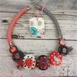 Red Black and White - Button Fusion Necklace - Button Jewellery - Earrings