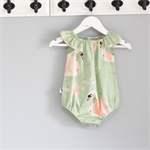 Peach, sage green & gold trimmed Baby Play Suit