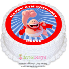 Captain Underpants Round Edible Icing Cake Topper - PRE-CUT - EI148R