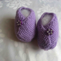 Knitted Mauve Moss Stitch Newborn Booties with Button Closure
