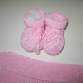 Pink Knitted Bootees and Head Band